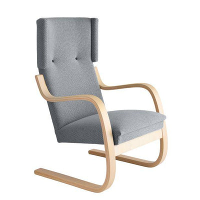 Artek, Copy of Armchair 401 Alvar Aalto, Frame: birch, clear lacquer Seat, front and back: fabric upholstery, kvadrat tonus 4 / 216 / Natural Lacquered- Placewares