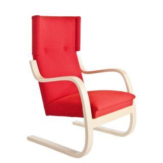 Artek, Copy of Armchair 401 Alvar Aalto, Frame: birch, clear lacquer Seat, front and back: fabric upholstery, red / Natural Lacquered- Placewares