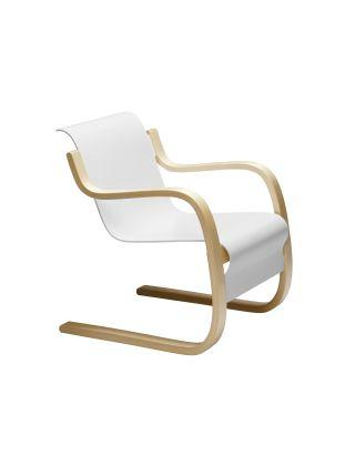 Artek, Armchair 42, Frame natural lacquered - seat shell white lacquered- Placewares