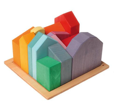 Grimm's Wooden Toys, Large Houses Building Blocks, - Placewares