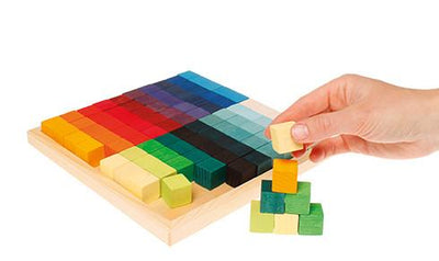 Grimm's Wooden Toys, Small Mosaic Square Building Blocks, - Placewares