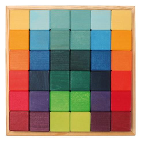 Grimm's Wooden Toys, 36 Cubes Square Building Blocks, - Placewares