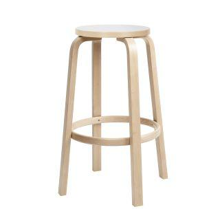 "Artek, Bar Stool 64, Bar Height - Seat White Laminate, Legs Natural Lacquered, Legs natural lacquered - seat IKI white HPL / H 30""- Placewares"