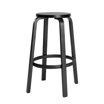 "Artek, Bar Stool 64, Counter-Height - Black Lacquered Seat & Legs, Legs black lacquered - seat black lacquered / H 25 ½""- Placewares"