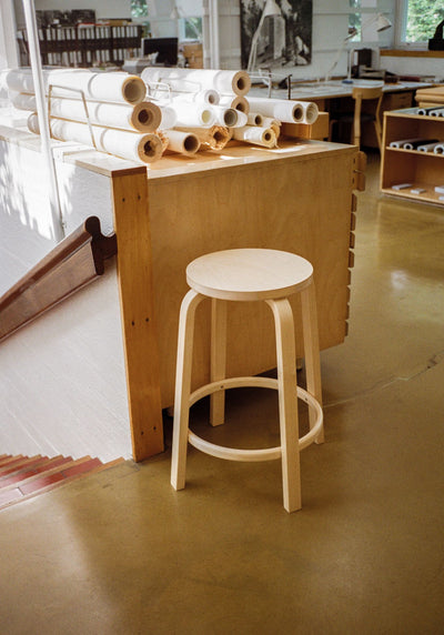 Artek, Bar Stool 64, Bar Height - Seat White Laminate, Legs Natural Lacquered, - Placewares