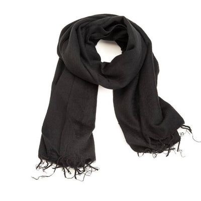 Zig Zag, Brushed Wool Wrap/Shawl/Scarf - multiple colors, Black- Placewares