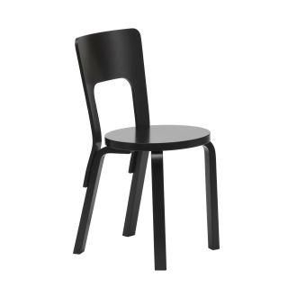 Artek, Chair 66, All-Black / Black - Legs, seat edge-band and backrest: birch, black lacquer Seat: birch, black lacquer- Placewares