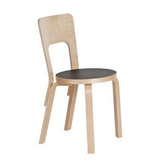 Artek, Chair 66, Natural/Black / Natural - Legs, seat edge-band and backrest: birch, clear lacquer- Placewares