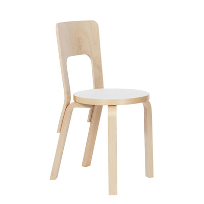 Artek, Chair 66, Natural/White / Natural - Legs, seat edge-band and backrest: birch, clear lacquer- Placewares