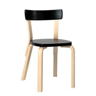 Artek, Chair 69, Legs: birch, clear lacquer Seat and backrest: birch, black lacquer- Placewares