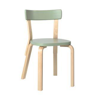 Artek, Chair 69, Legs: birch, clear lacquer Seat and backrest: birch, green lacquer- Placewares