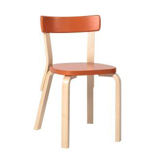 Artek, Chair 69, Legs: birch, clear lacquer Seat and backrest: birch, orange lacquer- Placewares