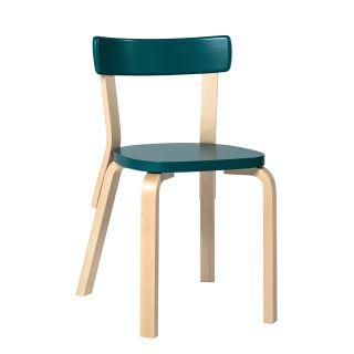 Artek, Chair 69, Legs: birch, clear lacquer Seat and backrest: birch, petrol lacquer- Placewares