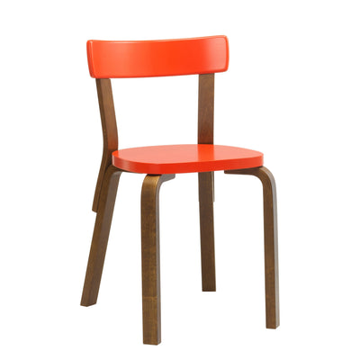 Artek, Chair 69, Legs: birch, walnut stain Seat and backrest: birch, bright red lacquer- Placewares