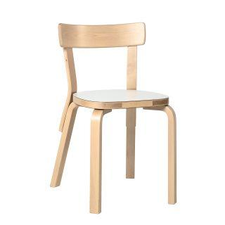 Artek, Chair 69, Legs: birch, clear lacquer Seat: HPL, IKI white- Placewares