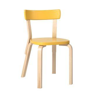 Artek, Chair 69, Legs: birch, clear lacquer Seat and backrest: birch, yellow lacquer- Placewares