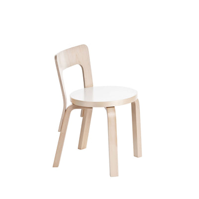 Artek, Children's Chair N65, Natural/White - Legs, seat edge-band and backrest: birch, clear lacquer Seat: HPL, IKI white- Placewares