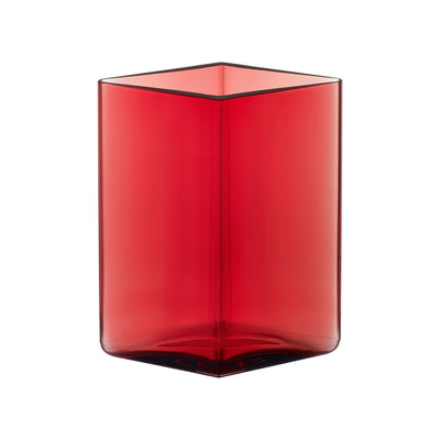 Iittala, Ruutu Vase, 4.5 x 5.5 in - multiple colors, Cranberry- Placewares