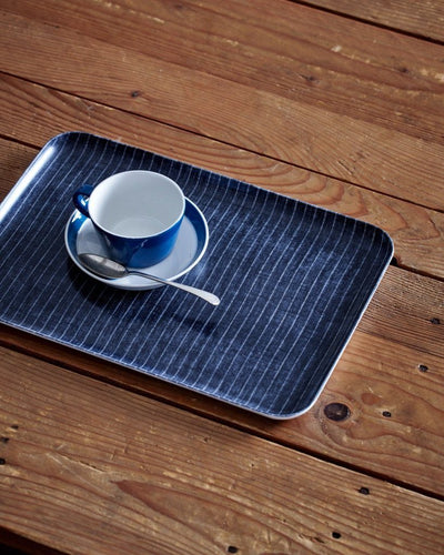 Fog Linen, Japanese Linen Coated Tray, navy and white stripe - assorted sizes, Medium- Placewares