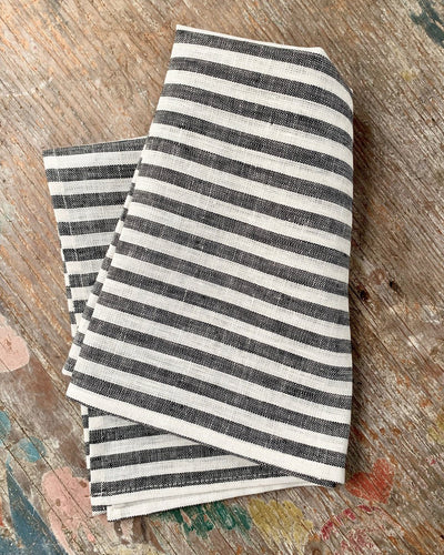 Fog Linen, Japanese Linen Kitchen Towel, black & white stripe, - Placewares