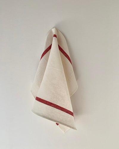 Fog Linen, Japanese Thick Linen Kitchen Towel, Stripe, White/Red- Placewares