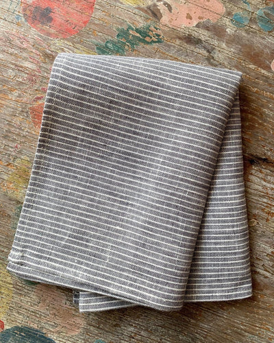 Fog Linen, Japanese Linen Kitchen Towel, grey and thin white pinstripe, - Placewares