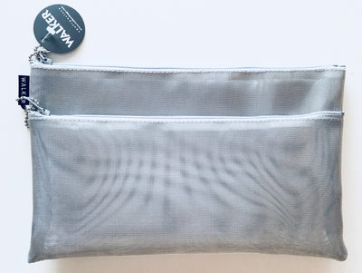 Walker, Walker Silver Metallic Mesh Bag, Double Zipper - multiple sizes, 6x10 / Silver- Placewares