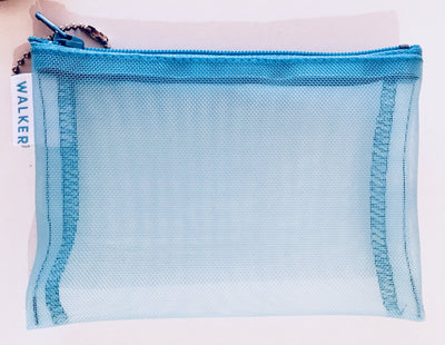Walker, Walker Color Mesh Bag, Single Zipper - 3 1/2 x 5 in, 3 ½ x 5 / Aqua- Placewares