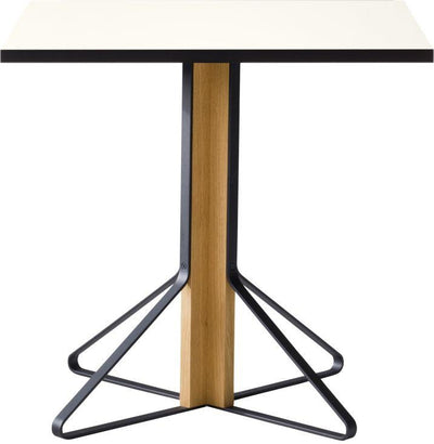 "Artek, Kaari Table Square, 29 ½ x 29 ½"" / White - Top: HPL, white high-gloss Top edge-band: ABS, black / Legs: oak, protective clear varnish Braces: steel, black powder coating- Placewares"