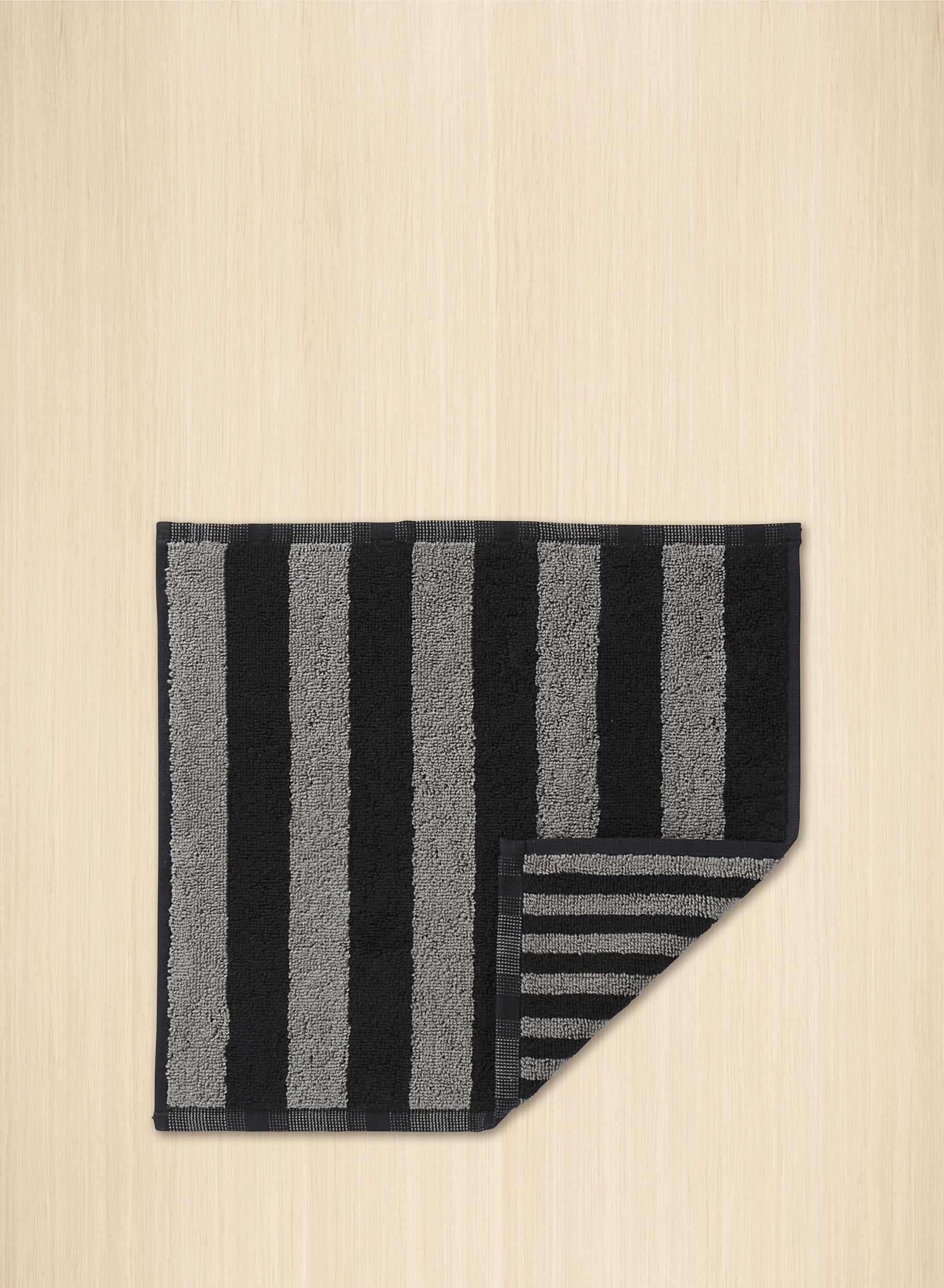 Marimekko, Kaksi Raitaa Mini Towel/Washcloth, Grey/Black- Placewares