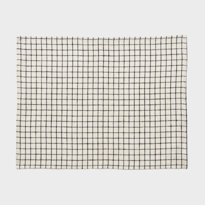 Fog Linen, Japaense Linen Placemat, ivory and navy grid, - Placewares
