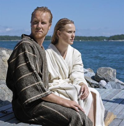 Jokipiin, Finnish Linen Bath Robe, unisex - black, - Placewares