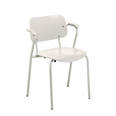 Artek, Lukki Chair, Stone White - Legs: steel, stone white matt powder coating Seat and back: beech, stone white lacquer- Placewares