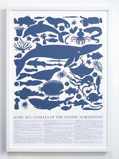 Banquet Atelier & Workshop, Sea Animals of the Pacific Northwest Screen Print, - Placewares