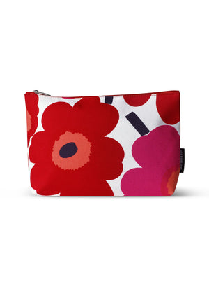 Marimekko, Ruut Pieni Unikko Cosmetic Bag, White/Red- Placewares