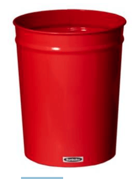 Bunbuku, Painted Steel Tapered Wastebasket, 1.9 gal - Red, Red- Placewares