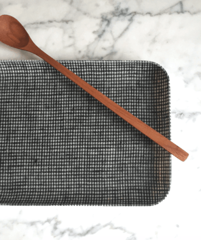 Fog Linen, Japanese Linen Coated Tray, black houndstooth - assorted sizes, - Placewares