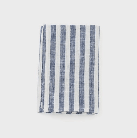 Fog Linen, Linen Kitchen Towel, navy white stripe, - Placewares