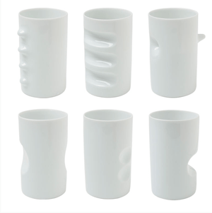 Miya, White Hakusan Porcelain 'Fancy Cups', 6/set, - Placewares