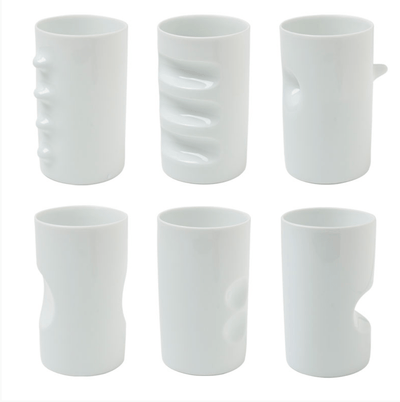 Hakusan Porcelain, Japanese Porcelain 'Fancy Cups', 6 Cup Set- Placewares