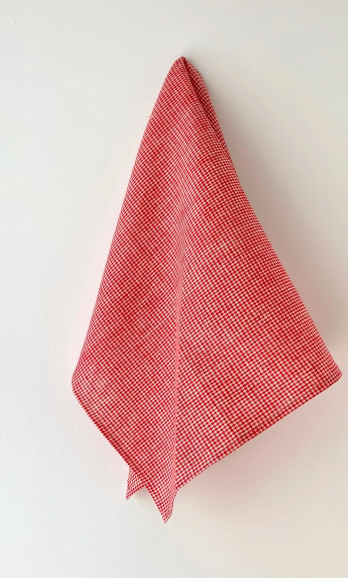 Fog Linen, Japanese Linen Kitchen Towel, red and white check, - Placewares
