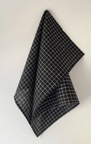 Fog Linen, Black & Beige Plaid Linen Kitchen Towel, - Placewares