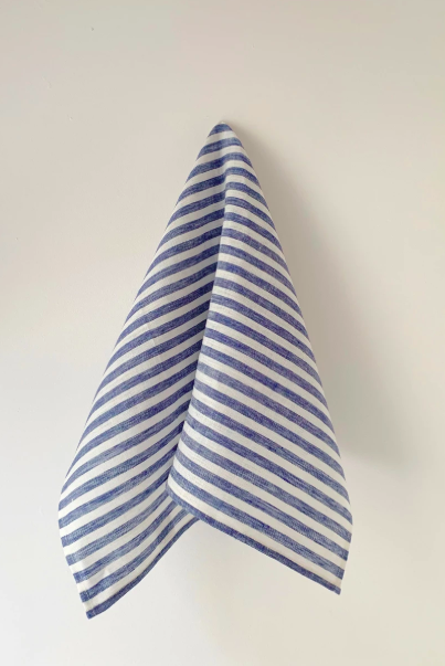 Fog Linen, Blue & White Stripe Linen Kitchen Towel, - Placewares