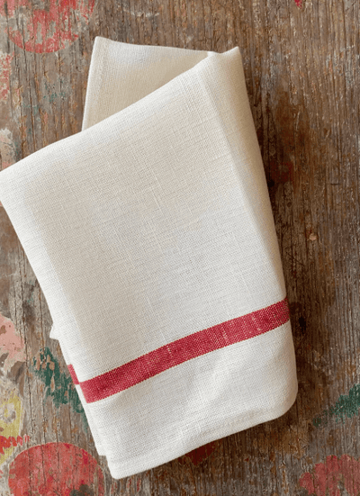 Fog Linen, Japanese Thick Linen Kitchen Towel, red stripe, - Placewares