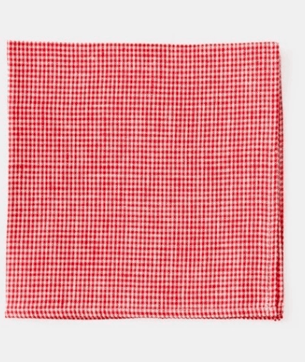 Fog Linen, Emma Linen Table Napkin, Red and White Check, - Placewares