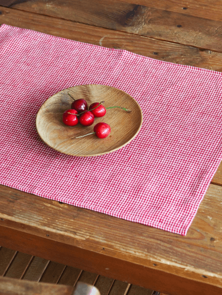 Fog Linen, Japanese Linen Placemat, red and white check, - Placewares