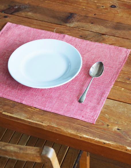 Fog Linen, Emma Linen Placemat, Red and White Check, - Placewares