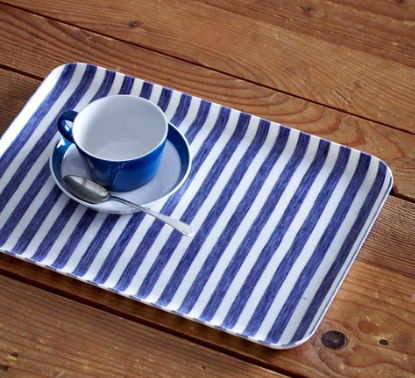 Fog Linen, Japanese Linen Coated Tray, blue and white stripe - assorted sizes, Large- Placewares