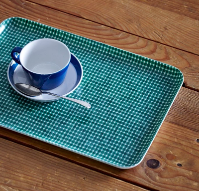 Fog Linen, Japanese Linen  Coated Tray, green & white check - assorted sizes, Medium- Placewares