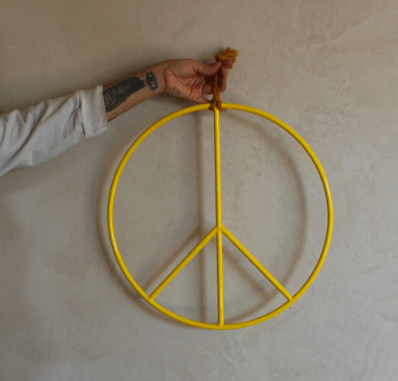 ALL ROADS, All Roads Peace Sign - Yellow, 17 in., - Placewares